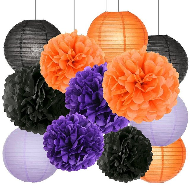 12pcs happy halloween decorations kit black orange purple paper 12pcs happy halloween decorations kit black orange purple paper lanterns tissue paper pom poms party paper mightylinksfo Image collections
