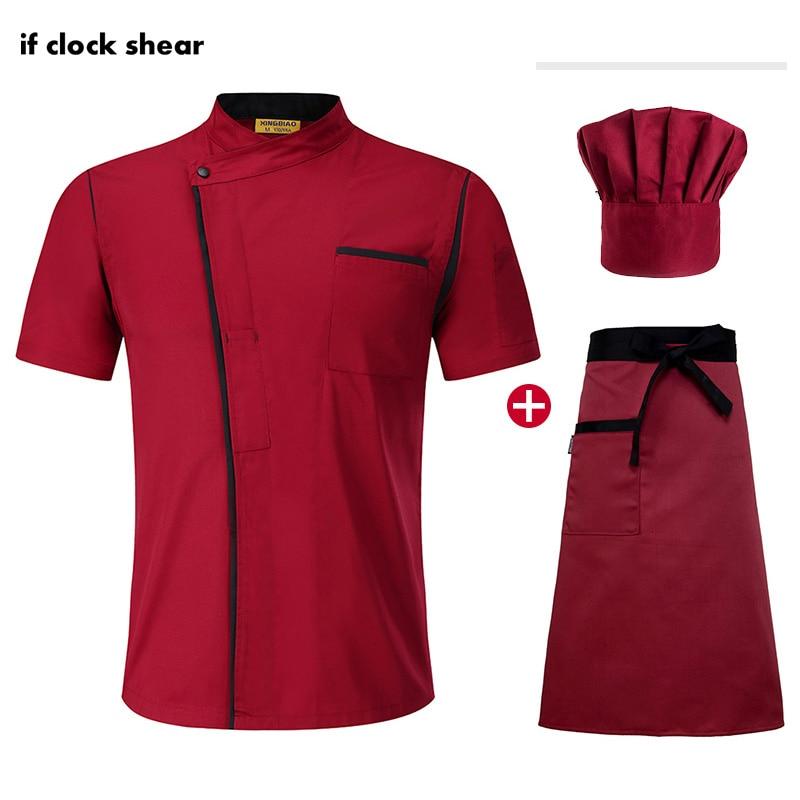 Food Service Short Sleeved Chef Restaurant Uniform Unisex Cooking Shirt Hotel Kitchen High Quality Work Clothes Jacket+Hat+Apron
