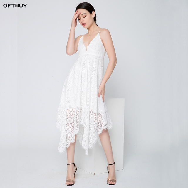 e89490d6a230 SALE 2019 vintage asymmetrical summer beach dress embroidery sexy Backless  sleeveless long white dress women party lace dress