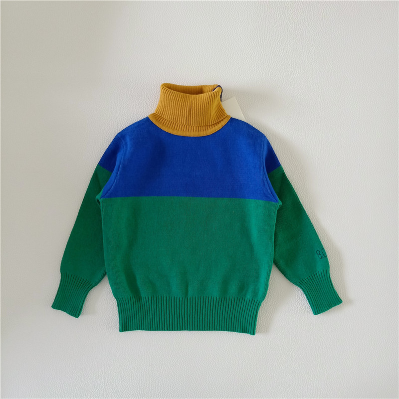 BOBOZONE Green Blue Yellow spliced turtleneck sweater for kids boys girls все цены