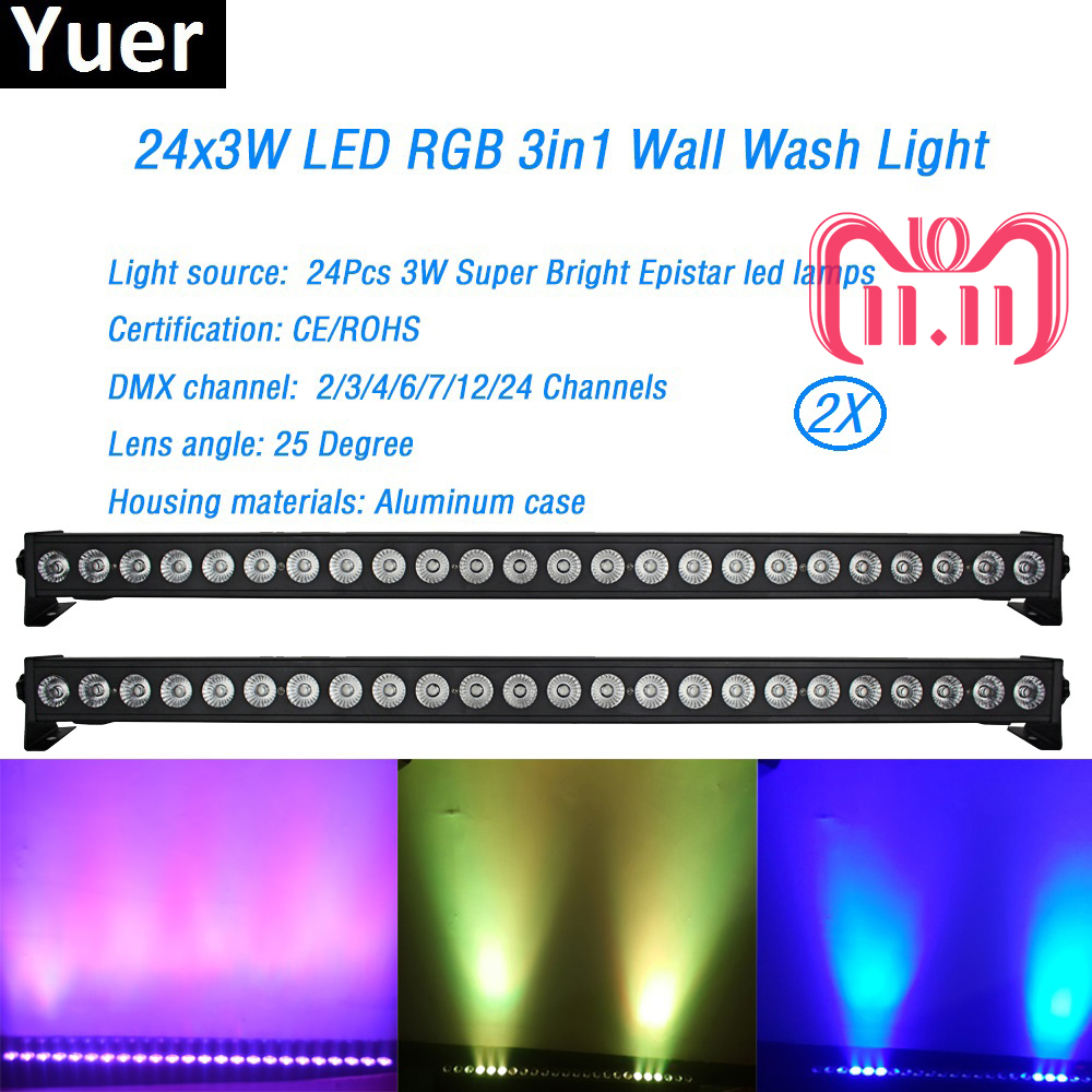 цена на 2Pcs/Lot Led Wall Washer Light 24x3W RGB 3in1 Led Floodlight Bar Running Horse Effect Aluminum case Stage DJ Disco Party Show