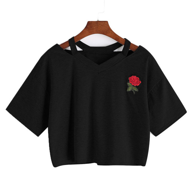 fcd5bd806db4 NIBESSER Women Short Floral T Shirt Summer Sexy Hollow Out Short Sleeve  Casual Black White Crop Top Rose Embroidery T shirt New-in T-Shirts from  Women s ...