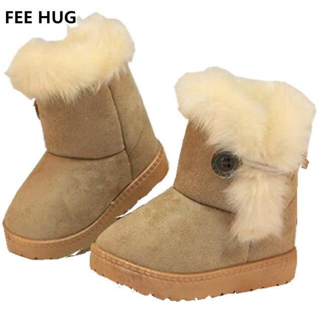 Bambini Stivali Invernali Per Bambini Stivali di Spessore Scarpe Calde  Cotone Imbottito In Pelle Scamosciata Fibbia 81d004829dd
