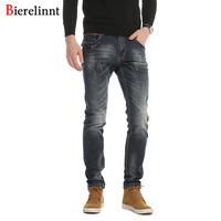 Bierelinnt Autumn Winter 2017 Fashion Casual Elastic Cotton Slim Fit Jeans Men Good Quality Denim Long