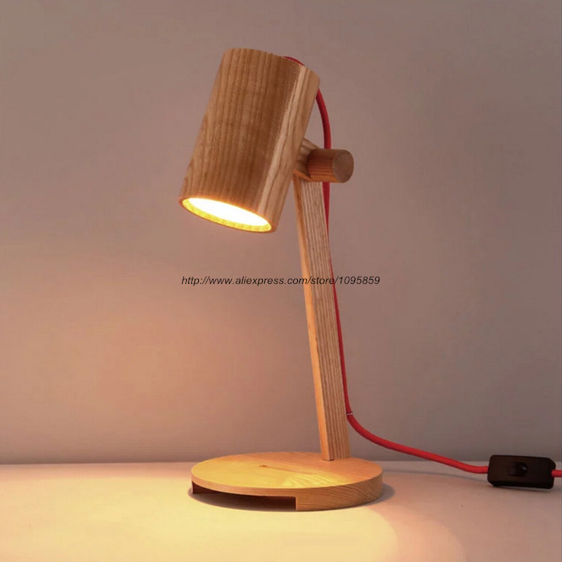 Free Shipping Modern Wood Soloist Table Lamps Lights Bedroom Wooden Reading Lighting art deco desk lamps 1 e27 bulbs 40w wooden reading lights free shipping