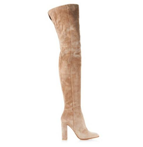 Elegant Women Over The Knee Boots Thick Heels Thigh High Boots Beige Suede High Heel Long Boots Hot selling Free Shipping hot selling beige grey suede leather over the knee boots pointed high heel side zipper tight high boots women long boots