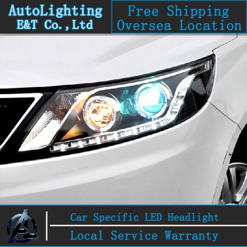 Стайлинга автомобилей светодиодные лампы головного света для Kia К2 фара Ассамблеи Рио светодиодные фары автомобиля глаза ангела Сид DRL H7 с HID комплект 2 шт.