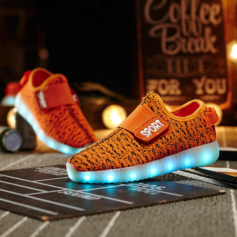 Children luminescent shoes LED lamp shoes boys girls casual sneakers USB rechargeable fluorescent shoes fashion kids shoes B388