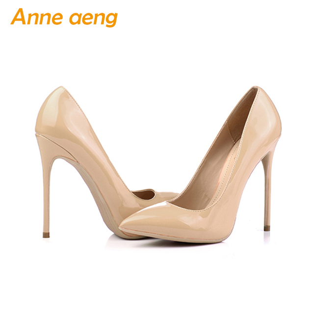 12cm High thin Heels Women Pumps Pointed Toe Shallow Bridal Wedding Shoes Sexy Ladies Women Shoes Nude High Heels Big Size 34-46 3