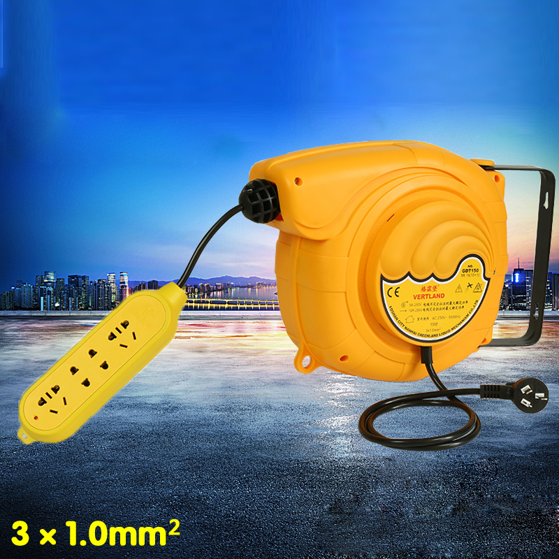 Automatic Telescopic Drum Cable Tray GDT150 220V Plug Board Board Line 15 Meters Electric Automatic Hose ReelAutomatic Telescopic Drum Cable Tray GDT150 220V Plug Board Board Line 15 Meters Electric Automatic Hose Reel