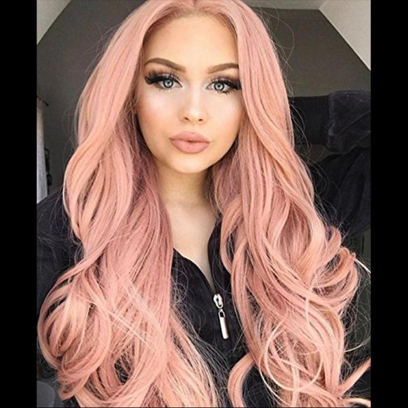 Fashion New European style Women's Fashion Wig Pink Synthetic Hair Long Wigs Wave Curly Wig+Cap Dropship #F