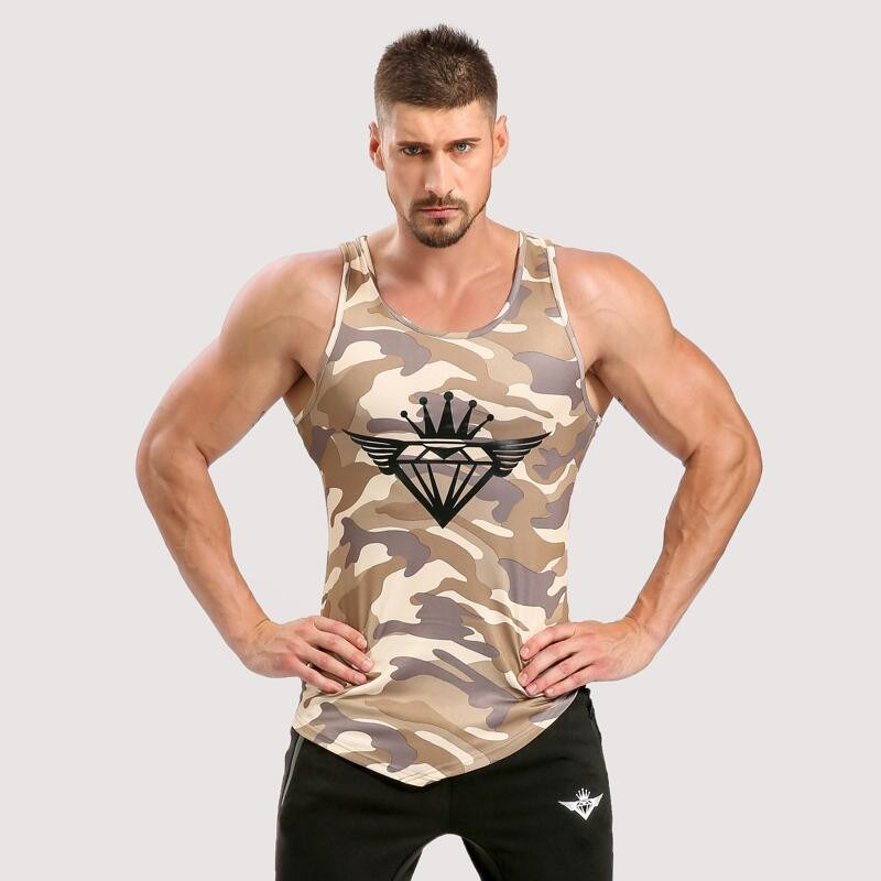 Fitness Men Top Army Camo Camouflage Mens Bodybuilding Stringers Tank Tops Singlet Brand Clothing Sleeveless Shirt