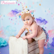 PATIMATE Girls Flower Unicorn party Decors Hair hoop Birthday Party kids Hairbands Baby Headband Headwear Accessories Favor