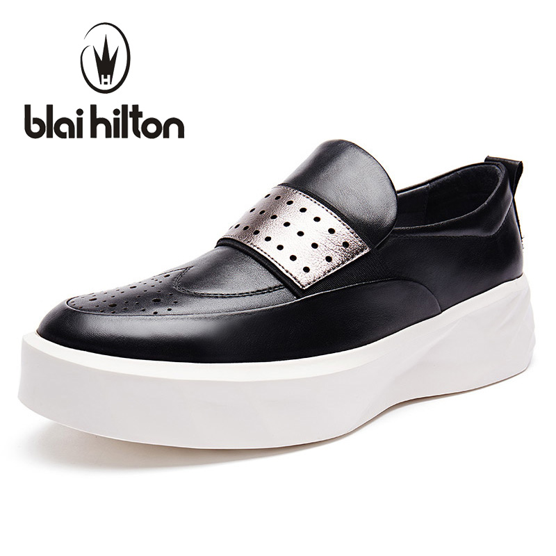 Blaibilton Summer Hollow Out Platform Loafers Men Shoes 100% Luxury Genuine Leather Fashion Mens Shoes Casual Designer SD6005 cbjsho brand men shoes 2017 new genuine leather moccasins comfortable men loafers luxury men s flats men casual shoes