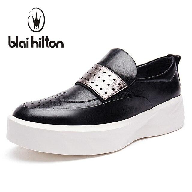 Blaibilton verano ahueca hacia fuera la plataforma hombres zapatos 100% cuero genuino moda hombres zapatos casual diseñador SD6005