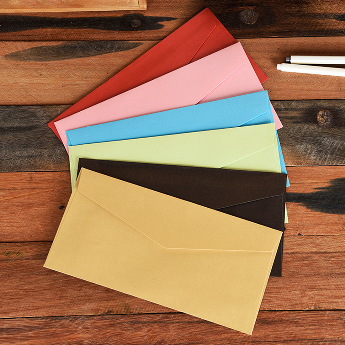 FangNymph 20pcs Kraft Envelopes European Classical Retro Paper Envelope Blank Envelops 11*22cm Office Supplier Stationery
