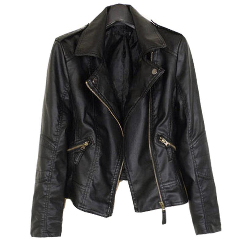 WSYORE Women Spring Biker Jacket 2019 New Plus Size Casual Autumn Winter Velvet Leather Jacket Coat Faux Leather Jacket NS823