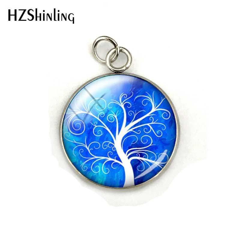 Moda Colorida Árvore da Vida Beleza Aço Inoxidável Banhado Artesanal Pingente Cúpula De Vidro Rodada Charme Jóias Presentes
