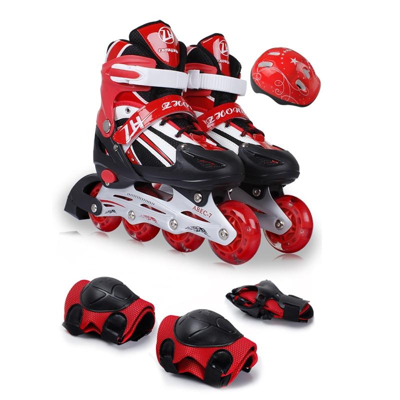 2018 NEW Teenagers Children Inline Skate Roller Skating Shoes Helmet Knee Protector Gear Adjustable PU Wheels Patines