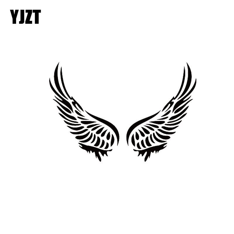 YJZT 12.5*8.6CM Cute Interesting Beautiful Angel Wings Covering The Body Silhoutte Car Sticker Decal Black/Silver Vinyl C20-1615