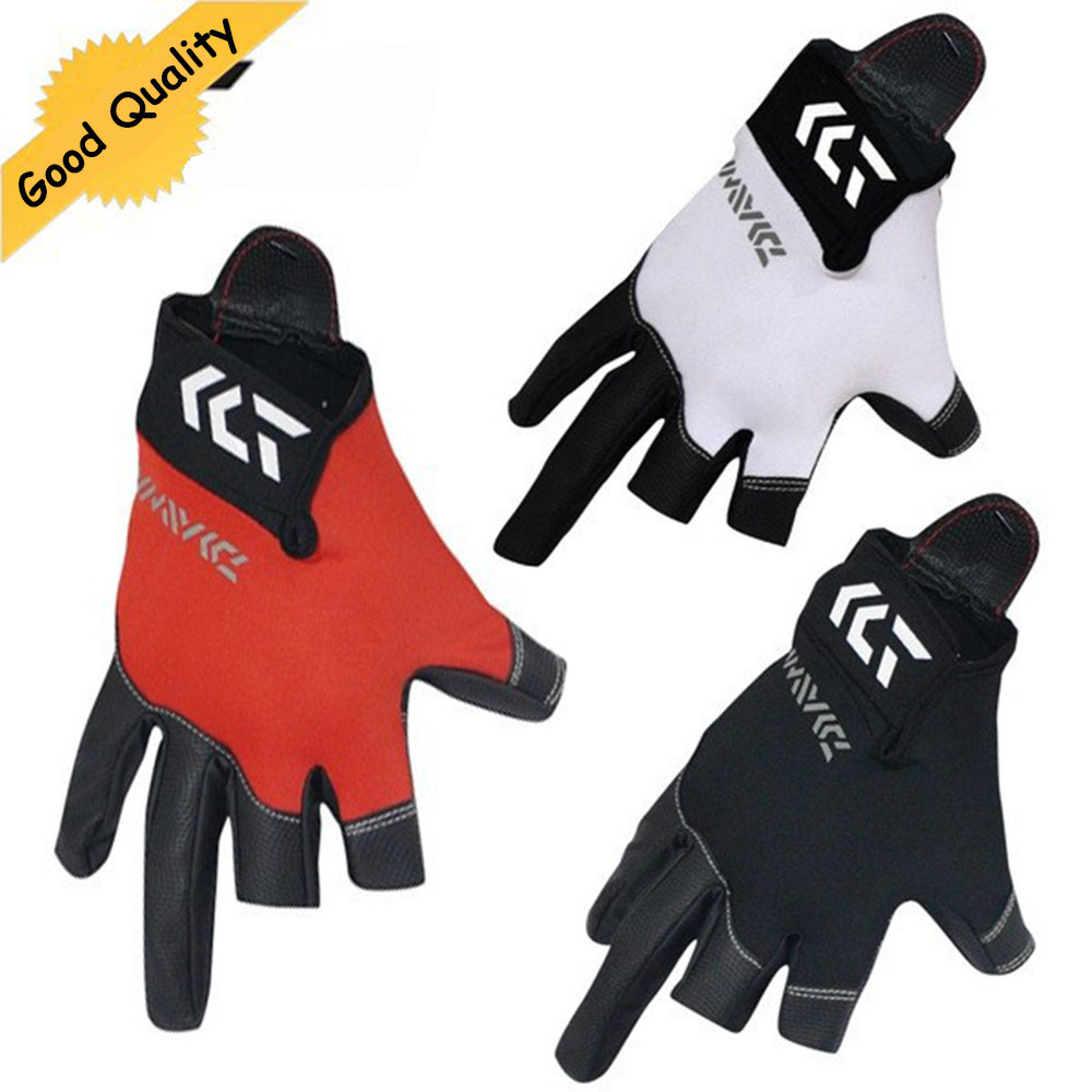 Three or Five cut finger leather fishing gloves New Top Quality Anti Slip Fishing Gloves/Outdoor Sports Slip-resistant gloves dasnaki anti slip fishing gloves 3 fingers cut fingerless gloves casting fishing outdoor sports breathable fishing gloves