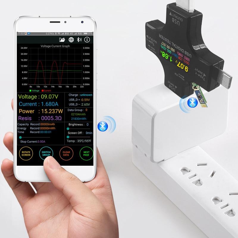 Dc Ammeter Ampere Meter TFT USB Tester Bluetooth Type-C PD Digital Voltmeter Vurrent Meter Ammeter Usb Current Tester Measuremen цены