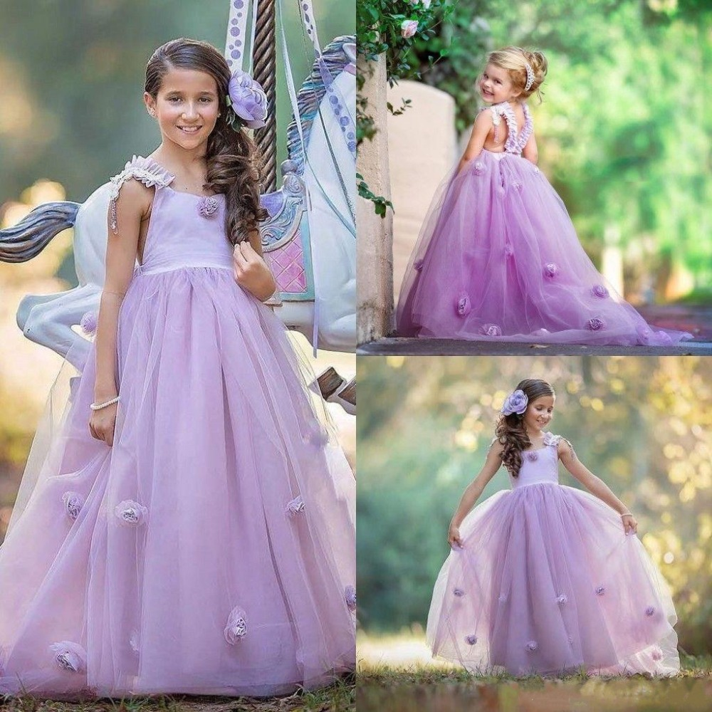 Romantic Violet Flower Girls Dresses For Wedding 3D Flowers Straps Girls Pageant Party Gowns Birthday Dress Custom Made SizeRomantic Violet Flower Girls Dresses For Wedding 3D Flowers Straps Girls Pageant Party Gowns Birthday Dress Custom Made Size