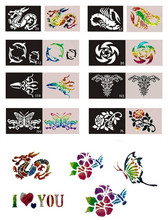 50pcs stencils of tattoo Mixed Design Sheets Stencils for Body Painting Glitter airbrush Tattoo Kit  Free shipping