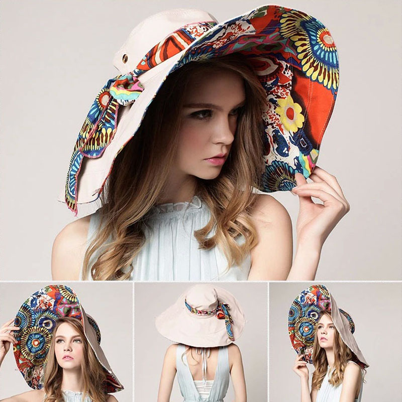 AETRENDS  2017 Fashion Design Flower Foldable Brimmed Sun Hat Summer Hats  for Women UV Protection Z 2657-in Sun Hats from Apparel Accessories on ... 12e12a5c908