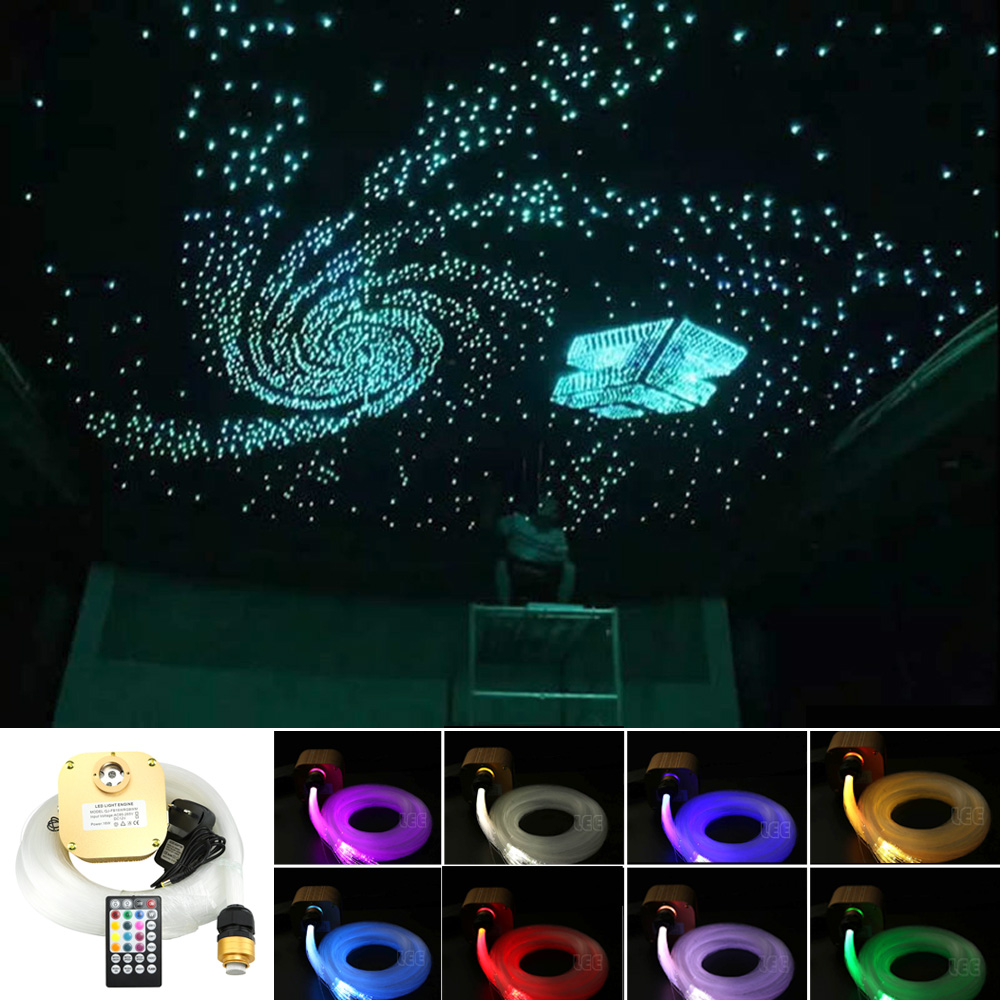 Sound Active 16W Twinkle RGBW Fiber Optic Star Sky Ceiling Kit 430strands 0 75 1 1
