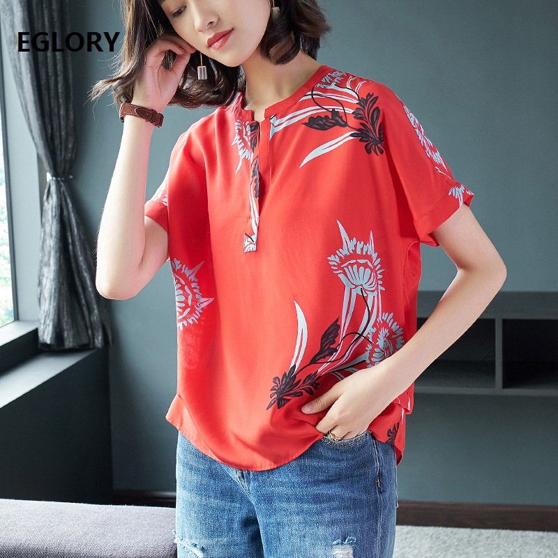 2018 Summer New Casual T-Shirt Women Pure Silk Floral Print Short Sleeve Plus Size Loose Elegant Tops t-shirt Woman Tops & Tees