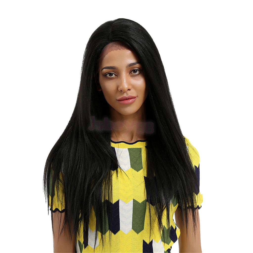 Premium Synthetic 26 Inches Long Straight Hair Wigs Black Color Full Wig Side Parting Heat Resistant Fiber for Black Women