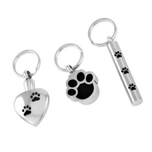 IJD8309 Hot Selling Cremation jewelry keepsake ashes keychain for pet,Stainless steel paw print urn memorial pendant necklace