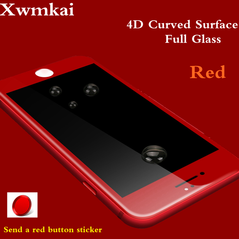 Xwmkai Red 4D Full Coverage Screen Protector Tempered Glass For Iphone 6S 7 8 Plus 9H