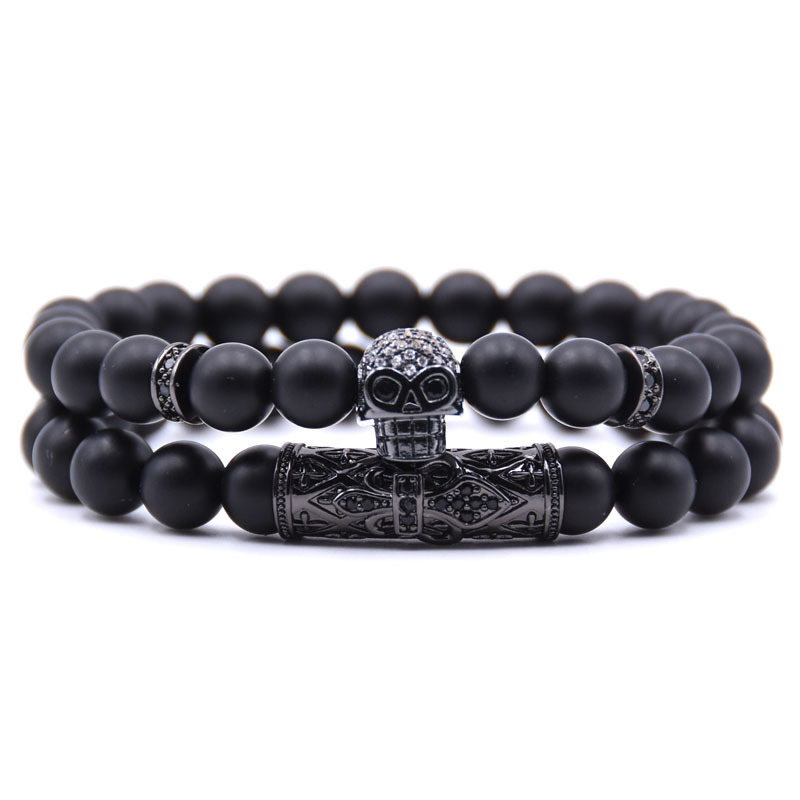 HYHONEY 2Pcs/Set Pave CZ Skull Charm Bracelet Matte Black Natural Stone Beads Bracelets Men Jewelry