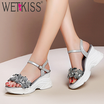 WETKISS Patent Leather Sandals Women Open Toe Footwear Fashion Casual Wedges Appliques Shoes Crystal Platform Shoes Woman Summer