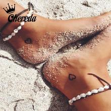Chereda Fashion Natural Shells Anklets Rope Summer Beach Foot Anklet for Women Seashell Leg Bracelet Jewelry enkelbandje