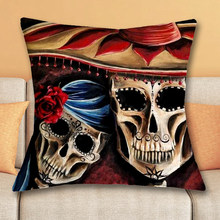 1 Pcs 43 43cm Day Of Dead Style Cushions Linen Cushion Cover Sugar Skull Throw Pillow For Living Room Bed