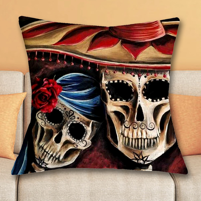 1 Pcs 43*43cm Day of Dead Style Cushions Linen Cushion Cover Sugar Skull Throw Pillow For Living Room Bed Room