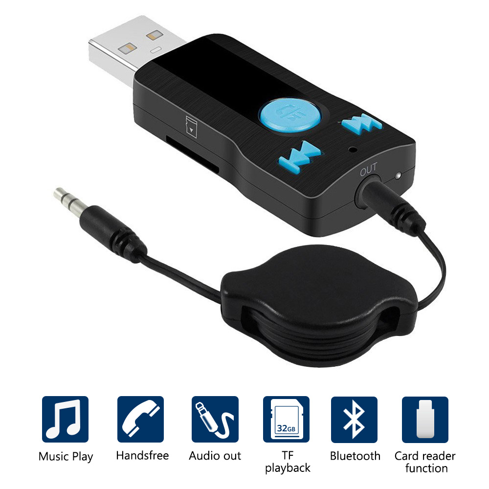 Usb Interface Bluetooth A2dp Music Streaming Adapter: USB Bluetooth Receiver Car Wireless A2DP Music 3.5mm Aux