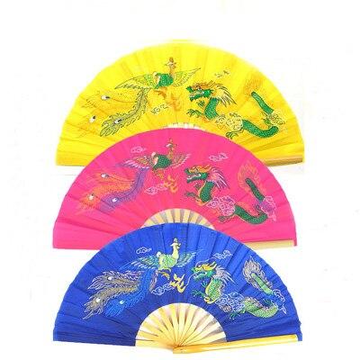 Redelijk 3 Kleur Geel/rose/blauw Bamboe Dragon Phoenix Wushu Fans Vechtsporten Kung Fu Taiji Tai Chi Fan