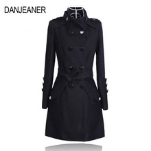 DANJEANER Women Classic Solid Long Trench Coat Female Doube Breasted Woolen Sashes England Style Turn-down Collar Outerwear