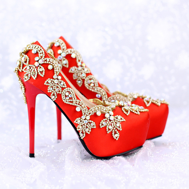 b9990d72b414 Luxurious Rhinestone Bridal Shoes Special Crystal Red Satin Wedding Shoes  Event High Heels Platform Party Prom Pumps size 39