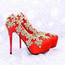 Luxuriöse Strass Braut Schuhe Spezielle Kristall Rot Satin Hochzeit Schuhe Event High Heels Plattform Party Prom Pumpen größe 39