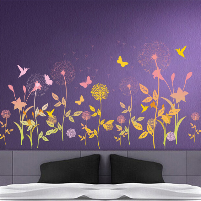 PVC Garden Flower Butterfly Dandelion Wall Sticker Scenery Wall Decal  Bedroom Living Room Wall Art