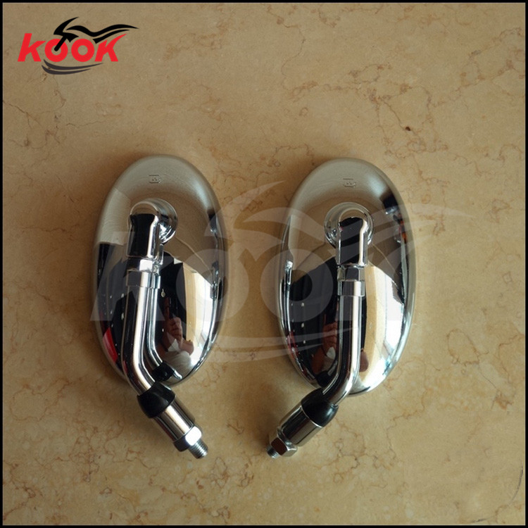chrome motorcycle mirrors for Harley Davidson rearview mirror ellipse motorbike side mirror silver custom style moto accessories