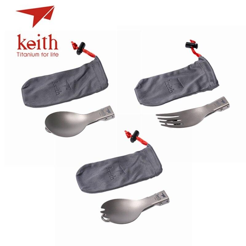 keith 3 em 1 titanium dobravel colher garfo spork talheres conjuntos com flanela sacos talheres acampamento