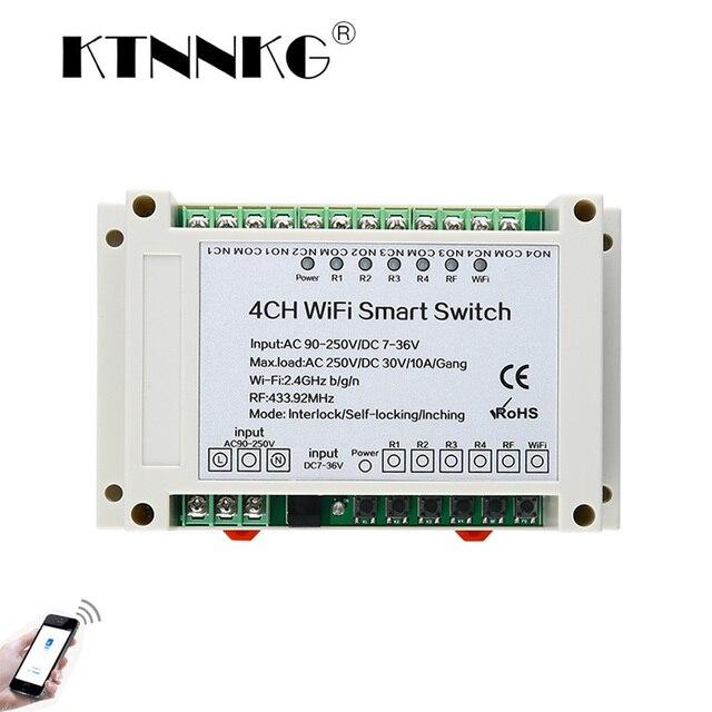 4 Канальный Релейный приемник Wi Fi KTNNKG, 110 В переменного тока, 90 250 В и 12 В, Стандартный Универсальный базовый выключатель питания, беспроводной пульт дистанционного управления для умного дома