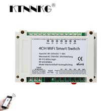 KTNNKG 4CH WIFI Relay Receiver 110V AC 90 250V & 12V DC7 36V Universal Basic Power Switch Wireless Remote Control for Smart Home
