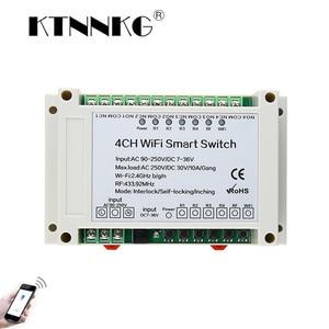 Image 1 - KTNNKG 4CH WIFI Relay Receiver 110V AC 90 250V & 12V DC7 36V Universal Basic Power Switch Wireless Remote Control for Smart Home